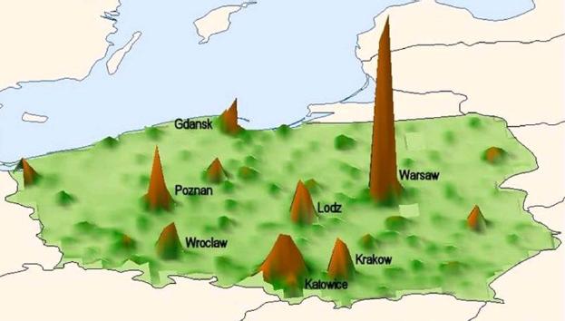 Rysunek. PKB na kilometr kwadratowy w Polsce